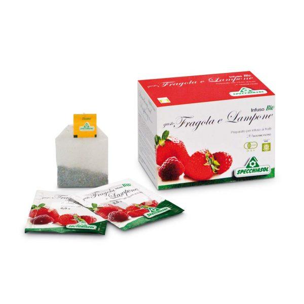 infuso bio gusto fragola e lampone filtri